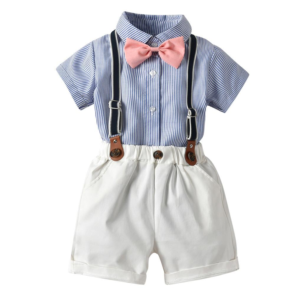 Baby Boy Clothes Summer Gentleman Suit Bow Tie Shirt + Shorts Tute Kids Kids Formal Gentleman Dress Moda roupa infantil