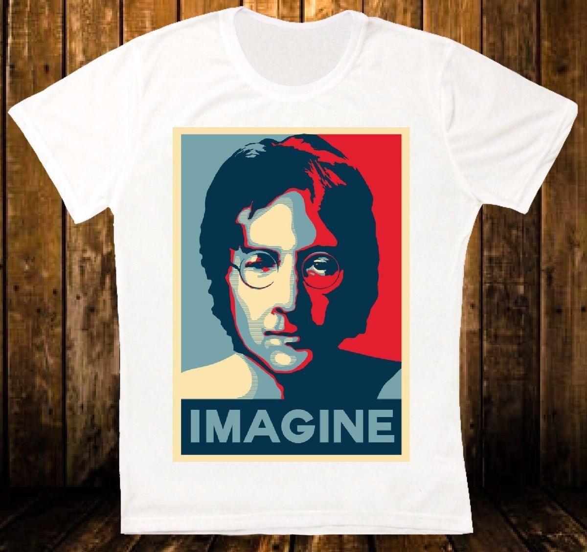 Compre JOHN LENNON IMAGINE Retro Vintage Hipster Camiseta Unisex Camiseta  Hombre Negro Manga Corta Algodón Hip Hop Camiseta Imprimir Camisetas A   12.08 Del ... 734eda93d17