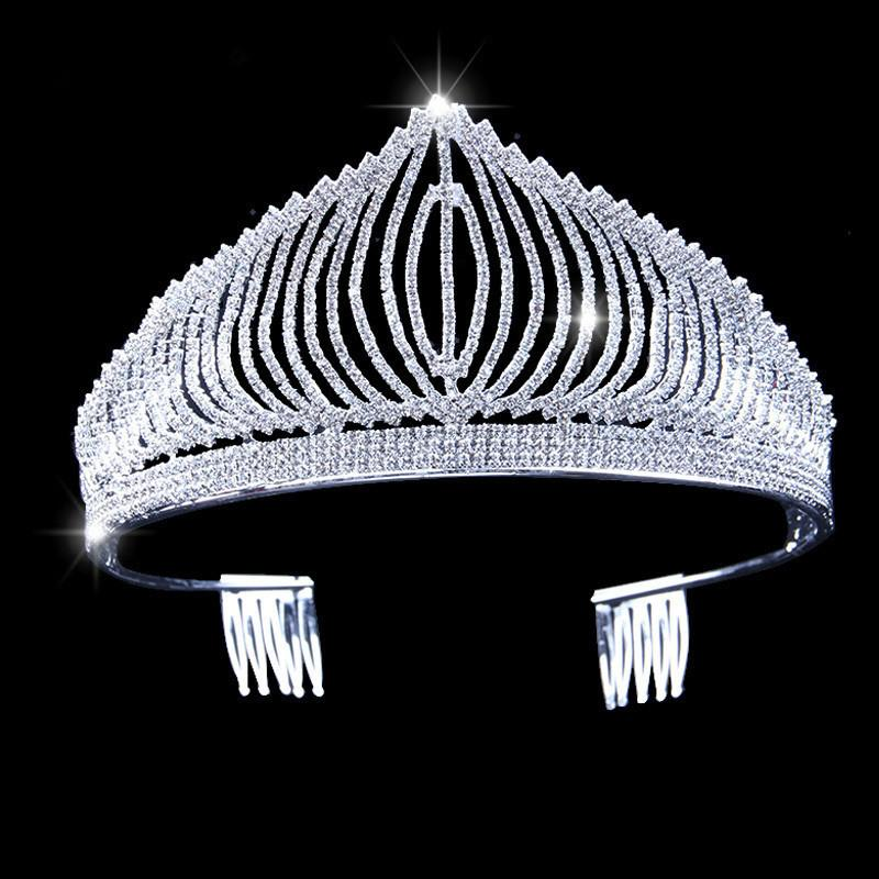 Vintage Silver Rhinestone Pearl Bride Tiara Crown Hair Jewelry Queen Crown For Wedding Exquisite Hair Accessories JCI118