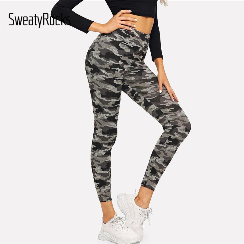 b0109d9f77c1c 2019 SweatyRocks Camo Print Skinny Leggings Active Wear Camouflage Leggings  2018 Workout Autumn Fitness Womens Pants And Trousers From Aimea, ...