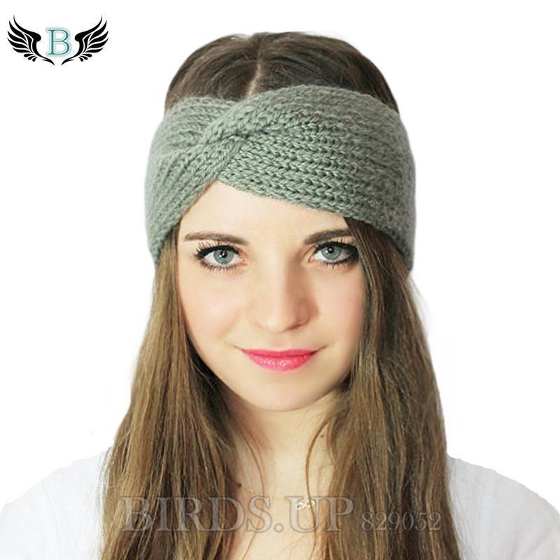 купить оптом зимний вязаный твист повязка на голову для женщин