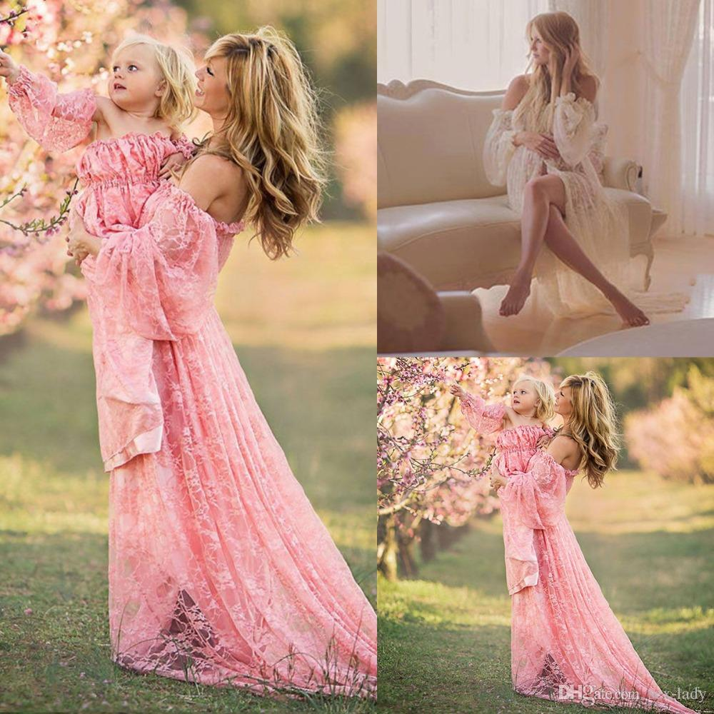 eacf13dfa3f 2019 Maternity Photography Props Pregnancy Fancy Dress Lace Robe Strapless  Maxi Gown Maternity Dress Split Front Women Long Dress From Sex Lady