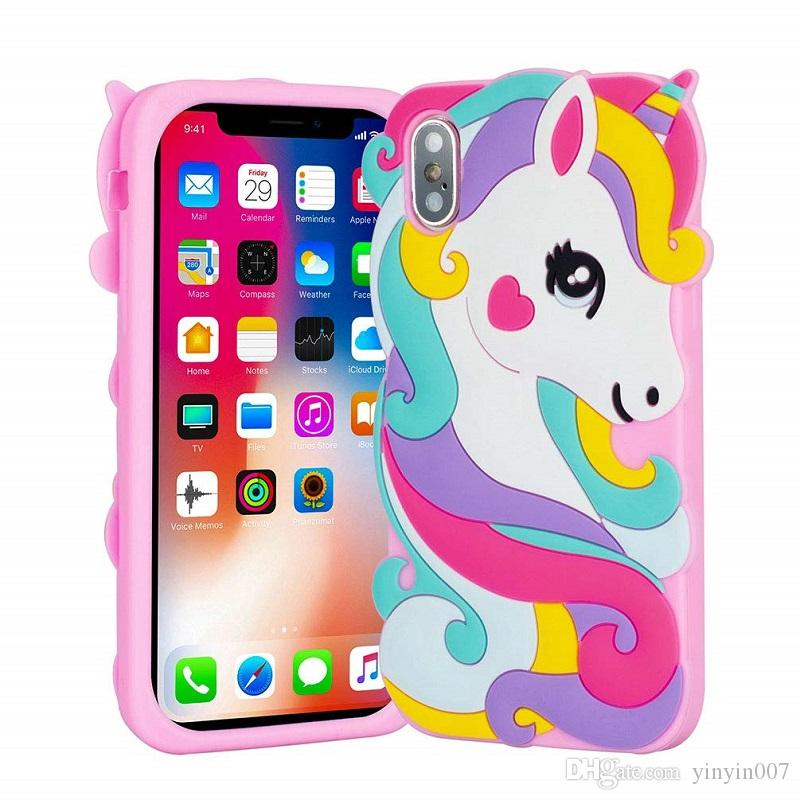 online store f8301 e88ef For iPhone 8 7 Plus 6 XS Max XR Case 3D Cartoon Unicorn Animals Soft  Silicone Rubber Shockproof Protective Case Cover For Kids Girls Ladies