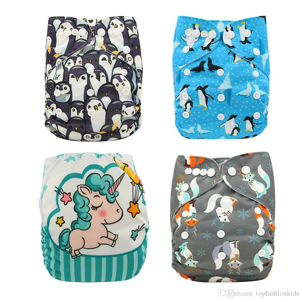 Baby Diaper One Size Printed White Gussets Snaps Cloth Diaper Covers fralda de pano Buckle Reusable Cloth Diaper