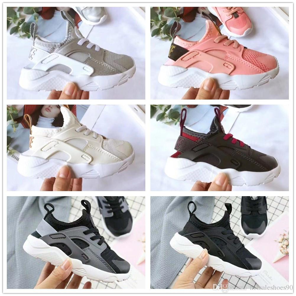 affaadf9b3 2019 New Kids Air Huarache Sneakers Shoes For Boys Grils Authentic All  White Children's Trainers Huaraches Sport Running Shoes Size 22-35