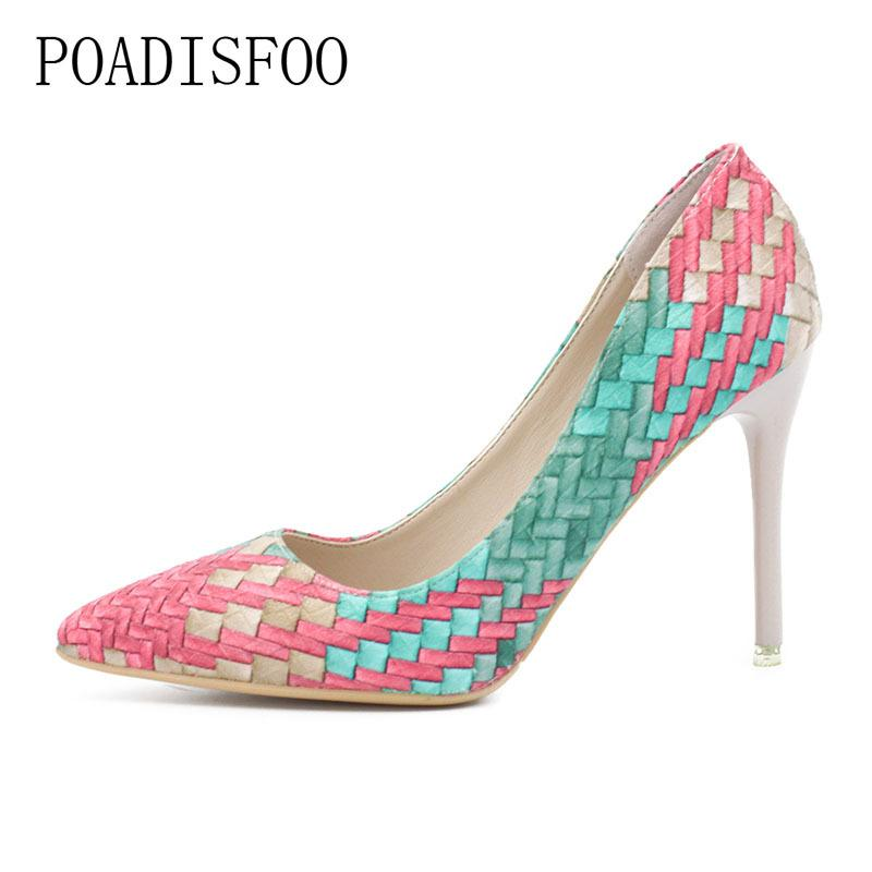 2019 Dress 2018 New POADISFOO New Retro Princess Pointed high-heeled Shoes Women Shoes Shallow Mouth Fine With Sexy .XXXY-F-168