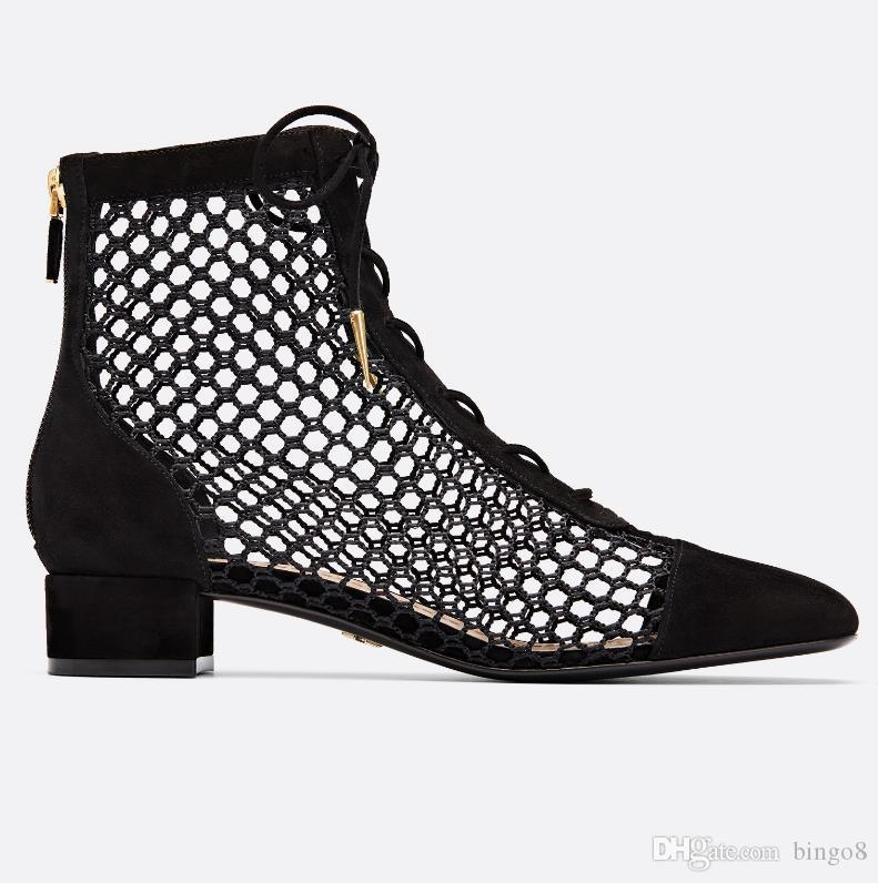 1b6cb78df85 Branded Women Naughtily D Ankle Boots Fashion Lady Mesh Suede Leather 3CM  Low Heel Rubber Sole Boots Wedge Booties Boots Sale From Bingo8