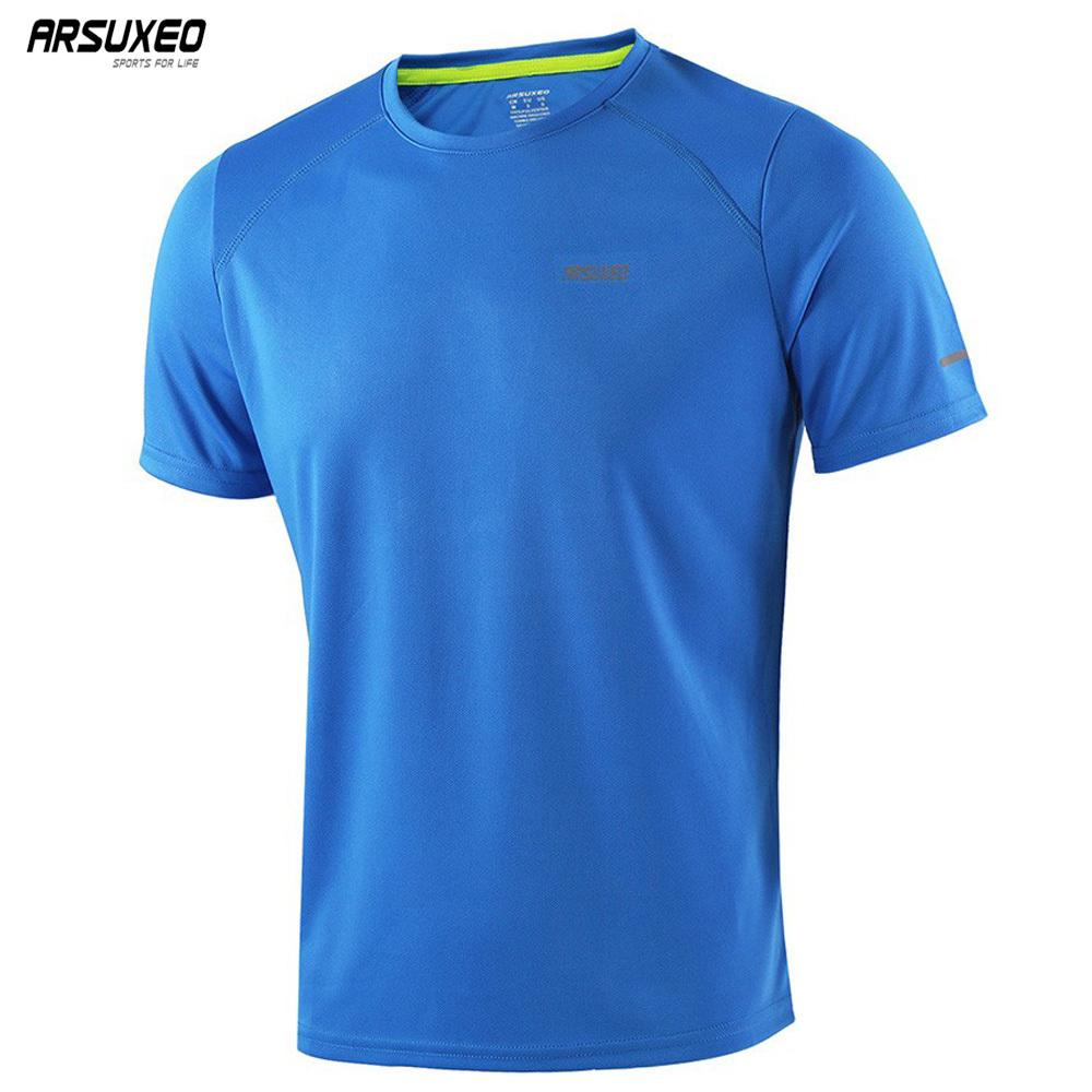 b6ca6249e ARSUXEO Summer Men S Running T Shirts Active Short Sleeves Quick Dry  Training Gym Crossfit Fitness Jersey Sports Clothing C18112201 UK 2019 From  Shen8402