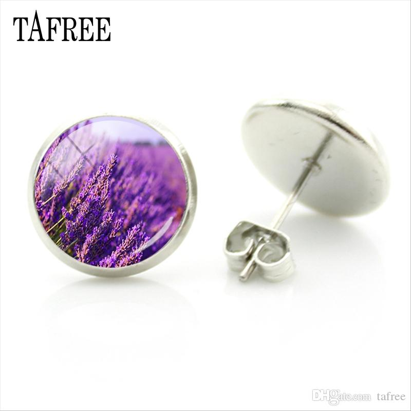 TAFREE Lavender Stud Earrings Purple Flower Women Earrings New Fashion Unique Round Shape Party Gifts Plant Badge Jewelry AC41