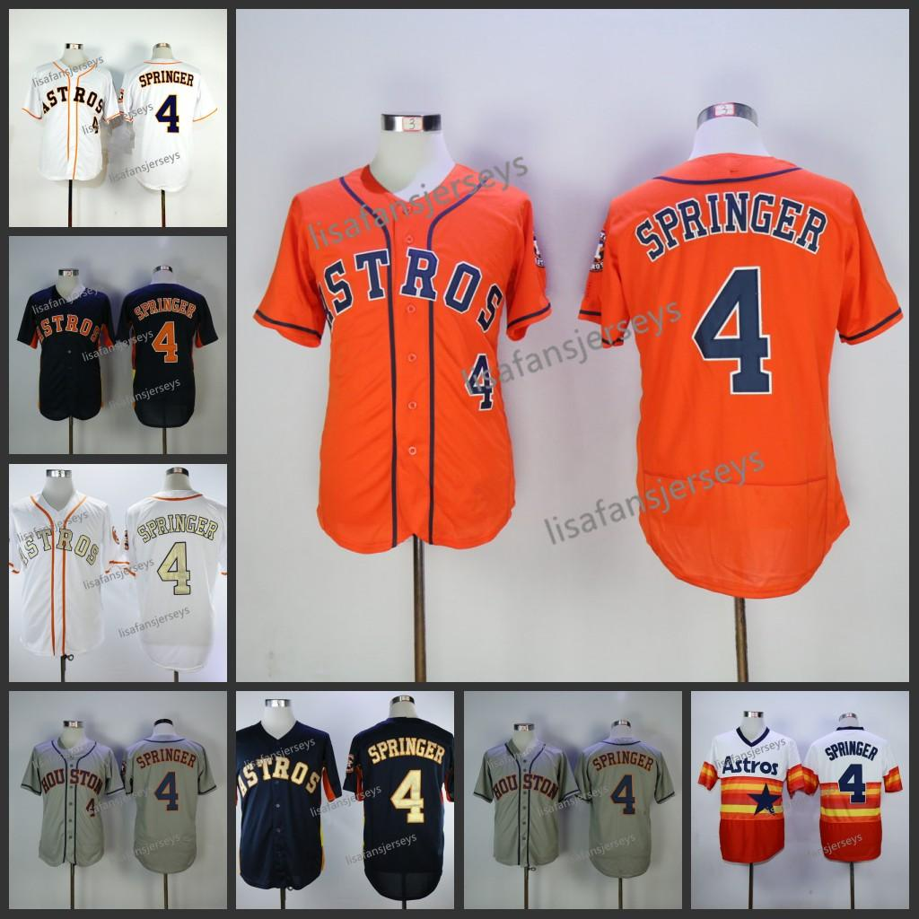 quality design 1a338 2af7d Mens 4 George Springer Baseball Jerseys Home Away Road Embroidered Navy  Blue White Gold Grey orange Stitched baseball jersey