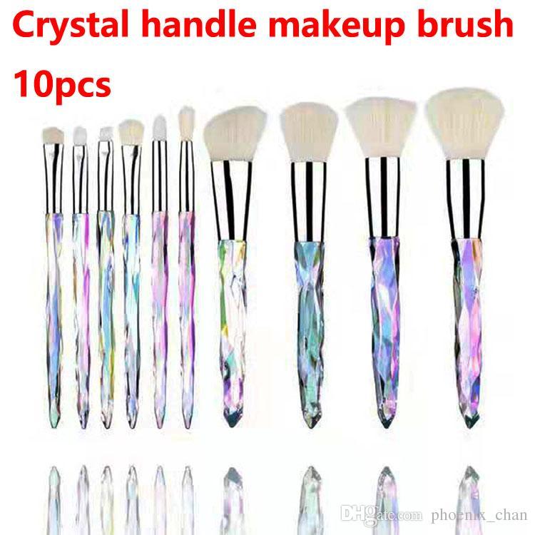 066a99bad641 Newest Makeup brushes 10pcs Crystal handle makeupbrush Professional Makeup  Brush Set Blush Eye Shadow Makeup Brush DHL free shipping