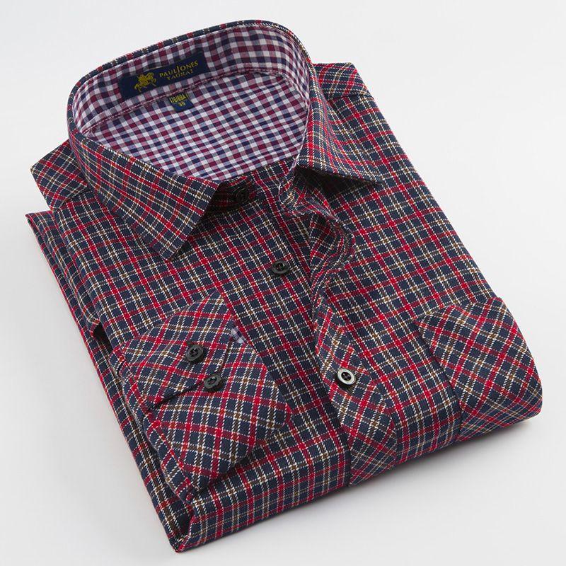 Compre Camisa De Vestir De Manga Larga Cepillada A Cuadros Para Hombre  Parche Bolsillo Cómodo Trabajo Casual Regular Fit Camisas A Cuadros  Clásicos A  26.49 ... b3be5107968