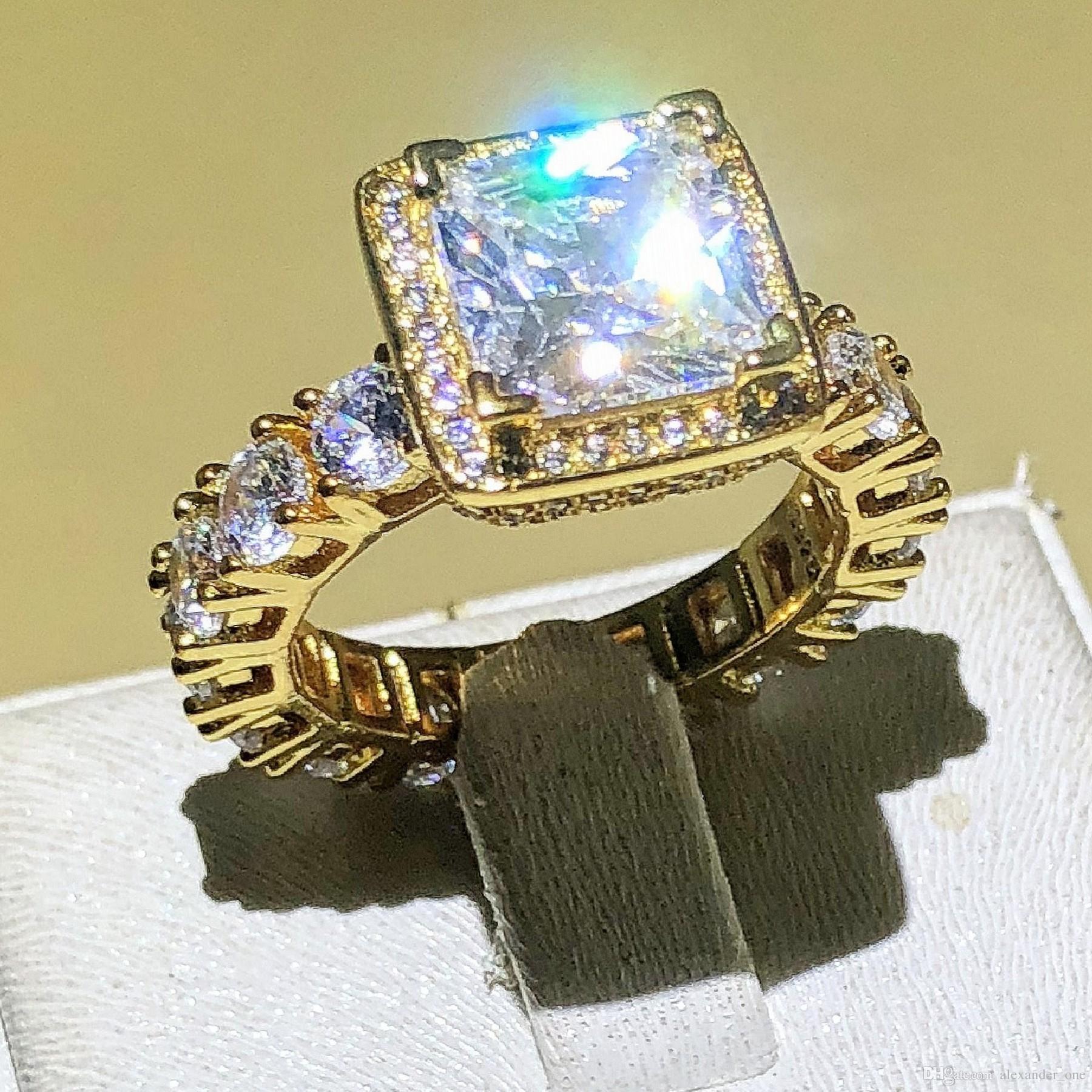 994ddd22b315 Compre Real Sólido 925 Anillos De Bodas De Plata Esterlina De Oro Joyas Para  Mujeres Cuadrados 3 Quilates Diamante Simulado CZ Anillos De Compromiso ...