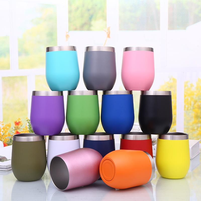 4bd516457d3 12OZ Stainless Steel Stemless Wine Glass Tumbler Double Wall Vacuum  Insulated Wine Tumbler with Lids for Coffee, Wine, Cocktails, I