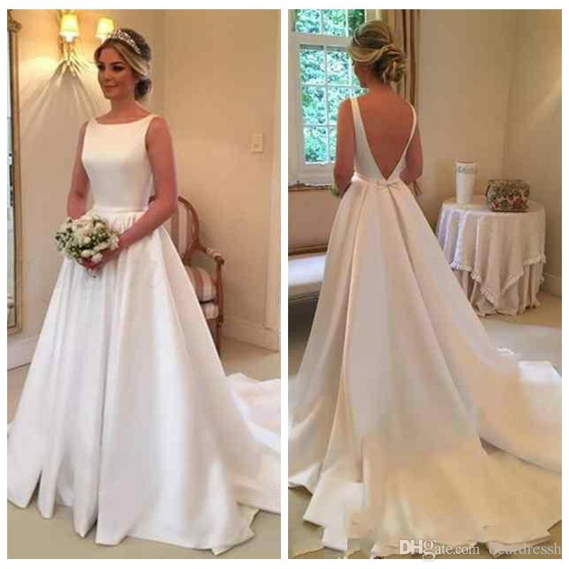 b50748ecc86 Discount 2019 Scoop Sleeves A Line Wedding Dresses V Shape Back Customized  Court Train Bridal Gowns Retro Simple Marriage Wedding Wear For Ladies  Weddings ...
