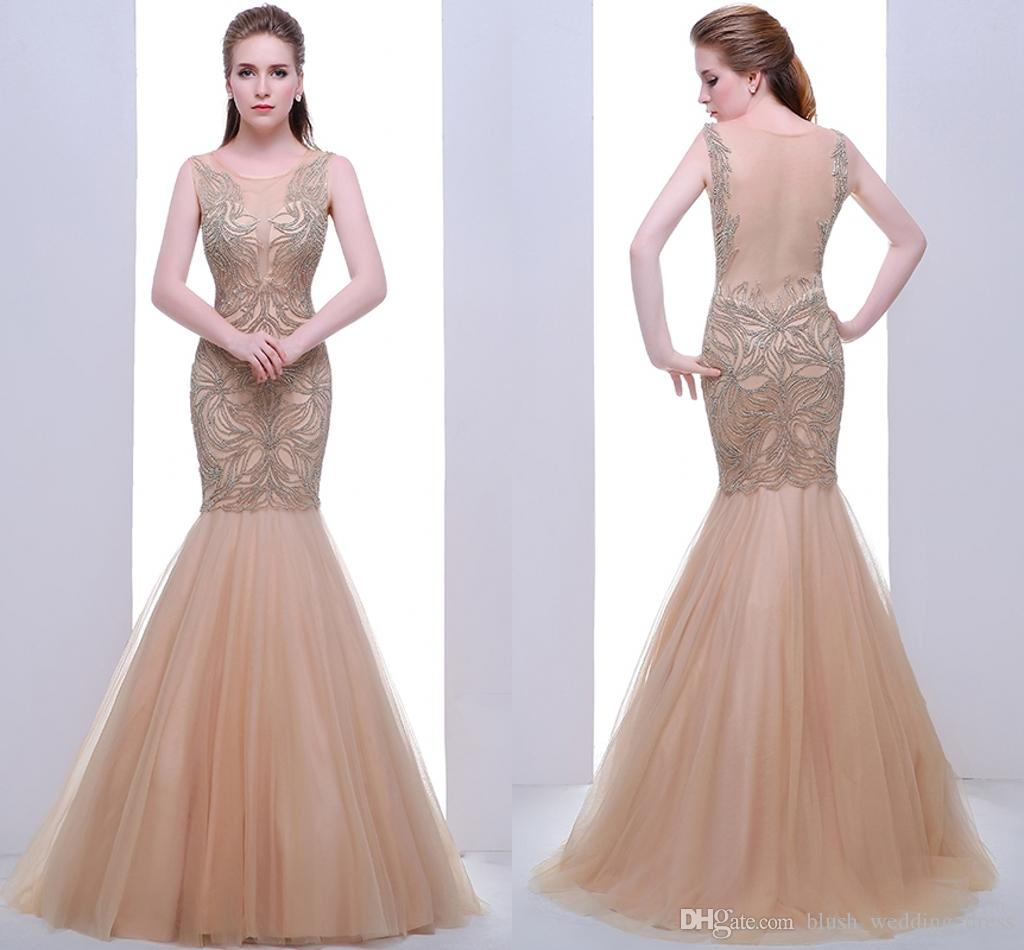 High End Round Neck Sexy Fishtail Bag Hip Net Formal Evening Dresses