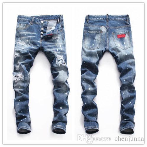 c9901bcde Compre 19ss Nueva Marca De Jeans Famosa Diseñador Larga Ripped  Individualidad Hombres Concisos Pantalones Vaqueros De La Mejor Calidad De  Moda Biker Jeans ...