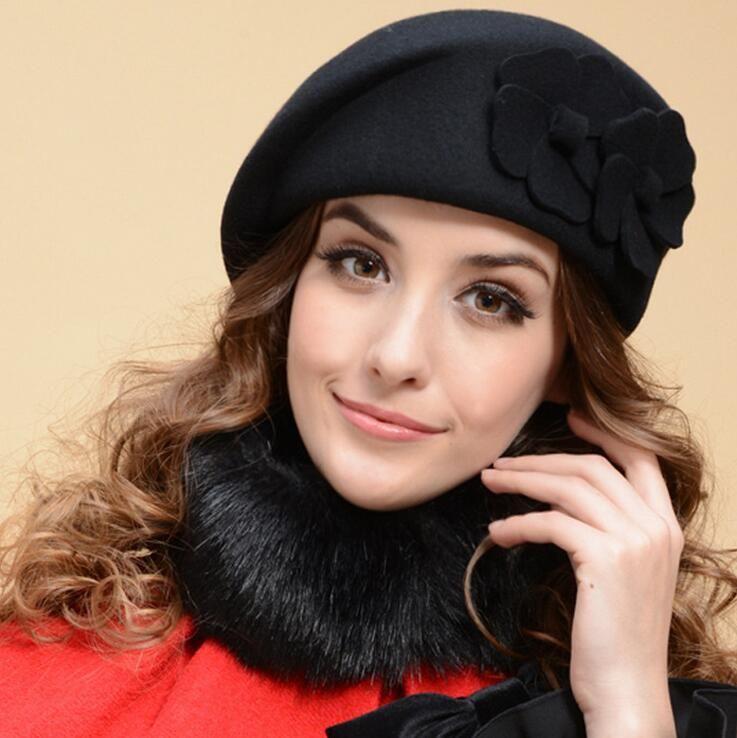 215f8bbe12cd8 2019 100% Wool Beret Winter Berets Women Winter Felt Beret Floral Women  Felt French Beret Beanie Fedora Hat Beanie Winter Flower Warm Fashion From  ...