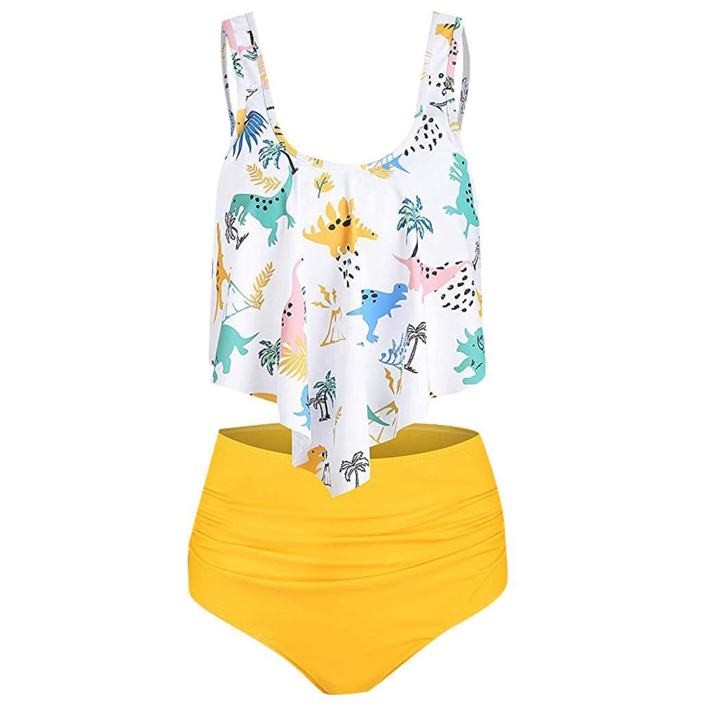 Plus Size Swimwear Women Sexy Tankini Two Piece Swimsuits Women 2019 White Print Tankinis Push Up Bathing Suit Women Biquini