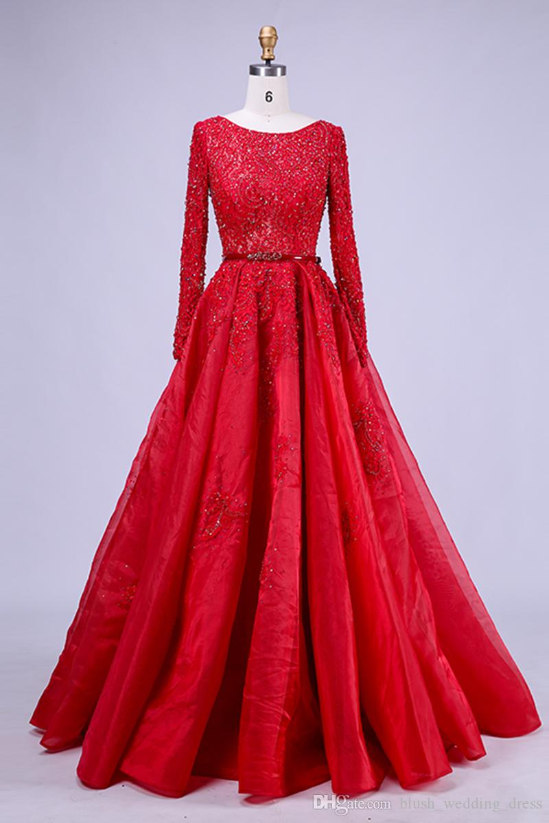 High-Quality New Kind Shooting In Red Long A-Line Formal Party Evening Dresses Long-Sleeved Lace Bead Ball Prom Dresses DH041