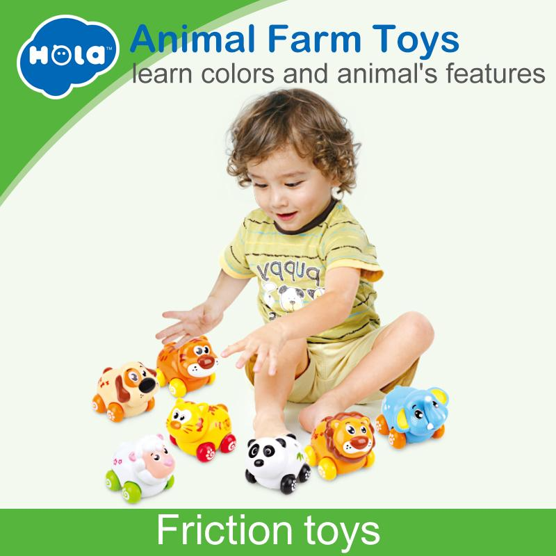 4pcs/lot Huile Toys 376 Abs Plastic Cute Cartoon Animals Friction Push And Go Cars Toys For Children 18 Month+ J190525