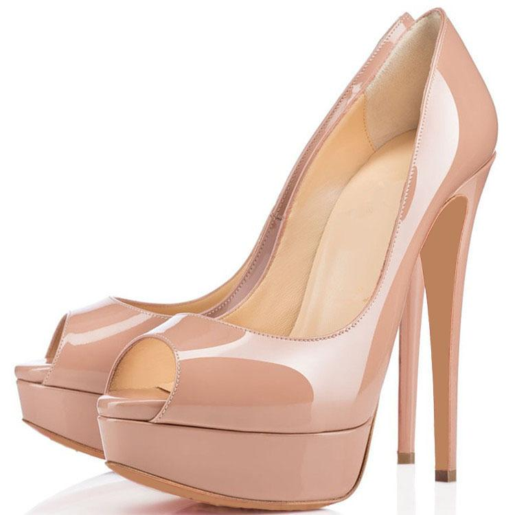 2019 Fashion 14cm Heel Women Nude High Heels, Desiger Platform Shallow Mouth Women039; s Zapatos de vestir