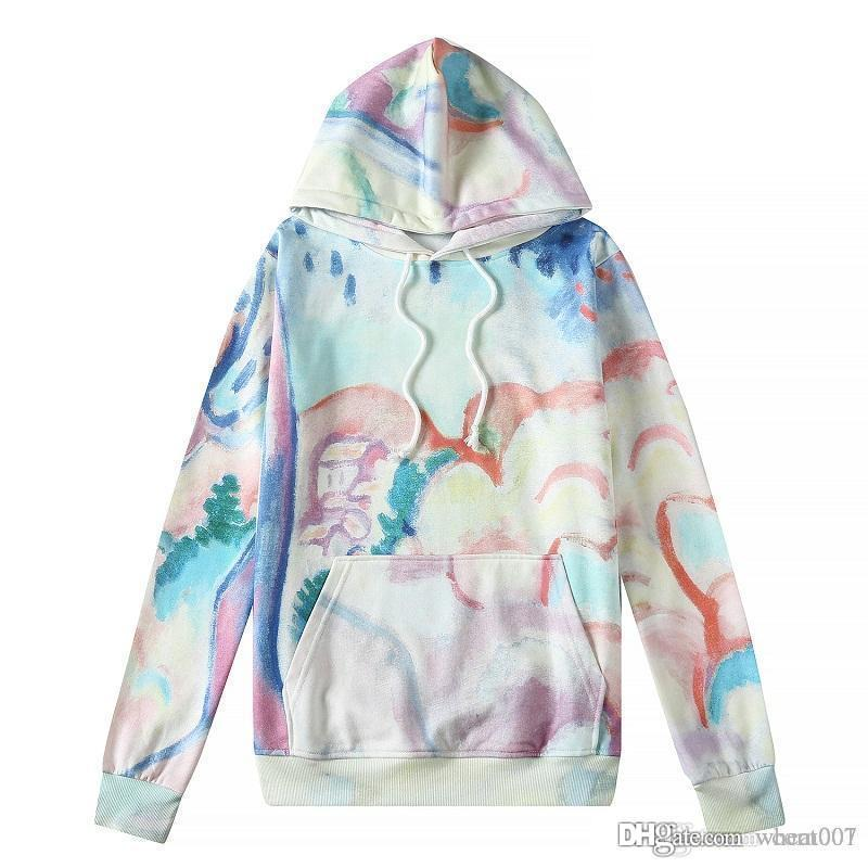19SS Euro-American Hip-hop Leisure Loose Long Sleeves Dazzling Colorful Tie-dyed Lightcap for Men and Women's Lovers