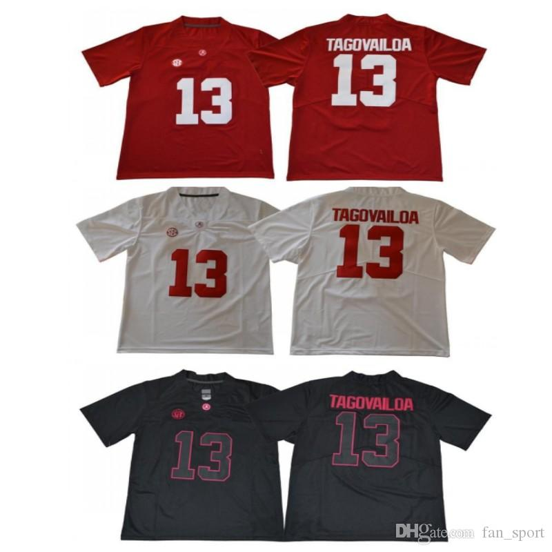 7715b409e 2019 Men NCAA New Alabama Crimson Tide  13 Tua Tagovailoa College Team  Jerseys White Red Black Shirts Uniforms Stitched Embroidery From Fan sport