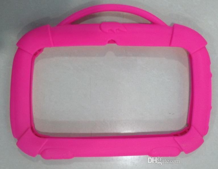 Kinder Karton Weiche Silikon Case Schutzhülle Gummi mit Griff für 7-Zoll-Q88 A33 Kind Hund Tablet PC MID 4 Farben-freies Verschiffen