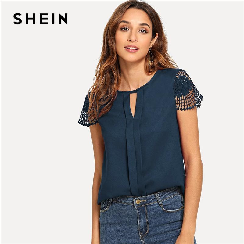 5fefc6c5b9a55 2019 Shein Navy Cutout Lace Contrast Cap Sleeve Button Plain Top ...