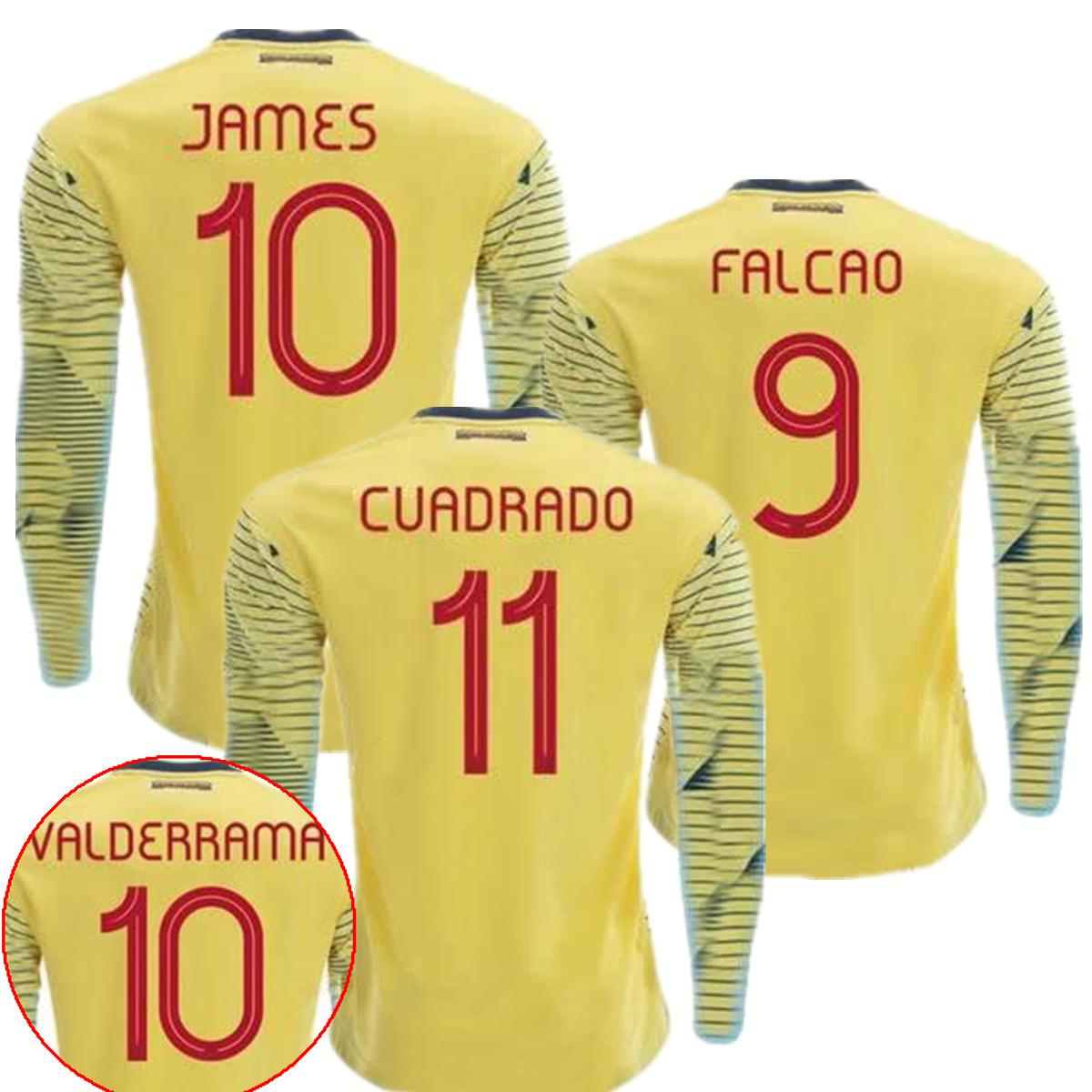 low priced 714ba c760b 2019 Colombia Soccer Jersey Falcao James Rodriguez Long Sleeve Football  SHIRTS Sanchez Copa America Colombia #10 JAMES Camiseta de Futbol