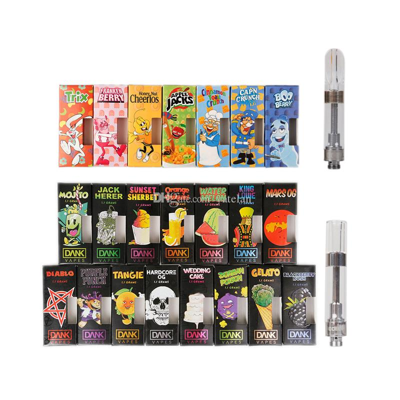 2019 Dank Vapes Cartridge New Black Packaging And Cereal Carts 1ml Ceramic  Vape Cartridge Dank Vape Cartridge Ceramic Coil 510 Atomizer Tank