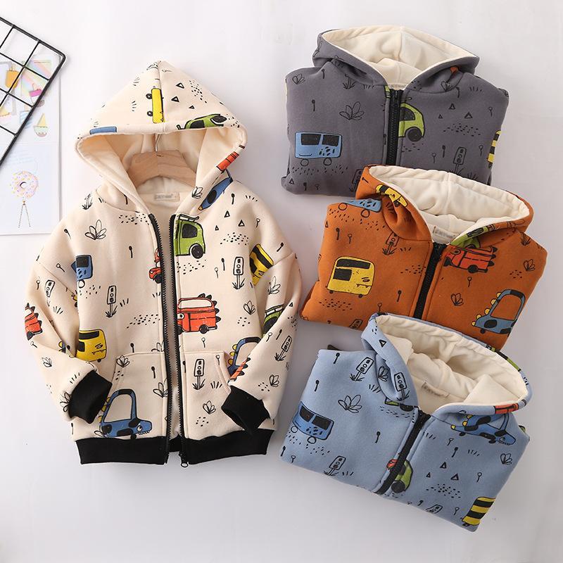 429a6a7a Girls Boys Warm Fleece Jacket Car Printed Coat Children Clothes Kids ...