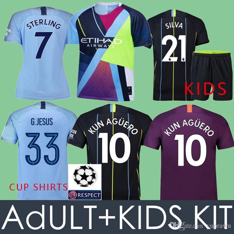 a59034400 2019 S 2XL MAHREZ 18 19 KUN AGUERO STERLING CITY Soccer Jersey 2018 2019  Home MAN G.JESUS DE BRUYNE SANE SILVA BERNARDO Football Shirt Camisetas  From ...