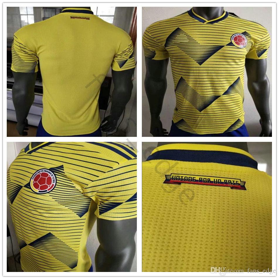 fd31f854b45 2019 Player Version 2019 Copa America Colombia Soccer Jersey 10 JAMES  VALDERRAMA 9 FALCAO 11 CUADRADO Custom 19 20 Home Yellow Football Shirt  From Fans_edge ...