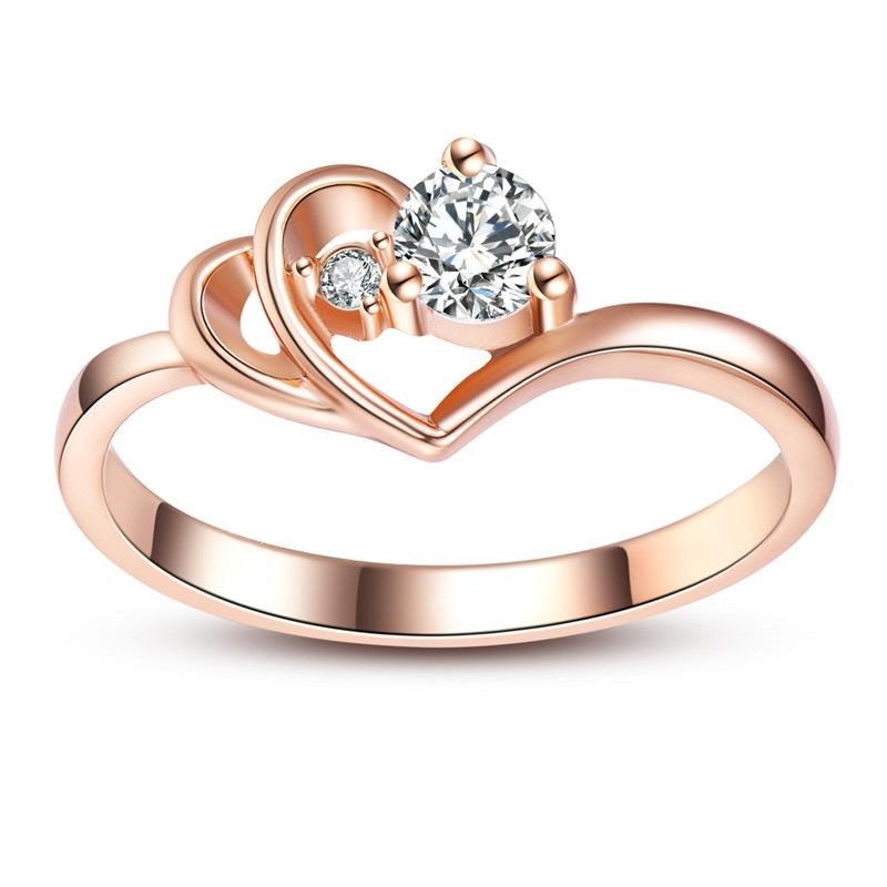 a1616cf78 Fashion Double Heart Shaped Ladies Rings Charm Simple Rose Gold Color  Inlaid Zircon Promise Rings For Women Party Jewelry Anel Diamond Ring  Eternity Ring ...