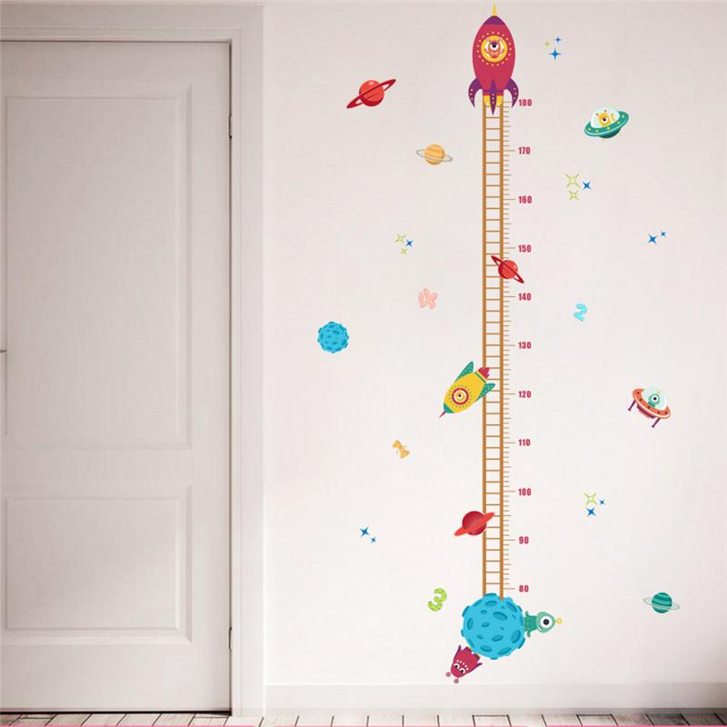 Diy Outer Space Planet Pilot Rocket Growth Chart Home Decor Height Measure Wall Stickers Kids Boy Room Baby Nursery mural