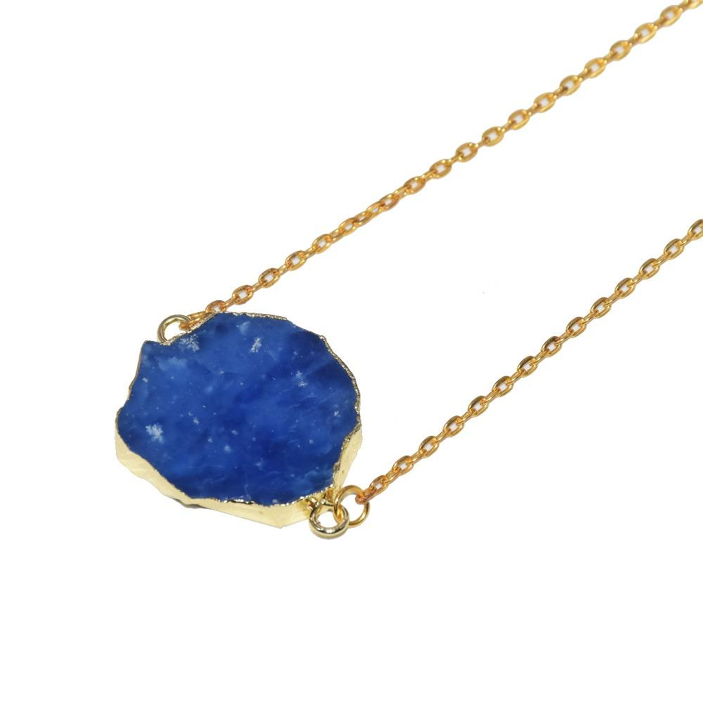 2019 New Natural Irregular Raw Slice sapphires connector chain necklace girl blue crystal quartz pendant women necklace gift