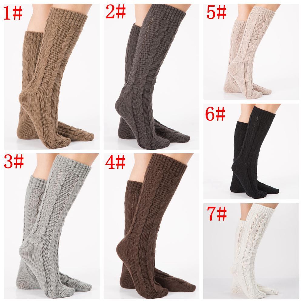 5c78814654adf Knitting Women Long Boot Socks Wool Flower Boot Cuffs Thigh High ...