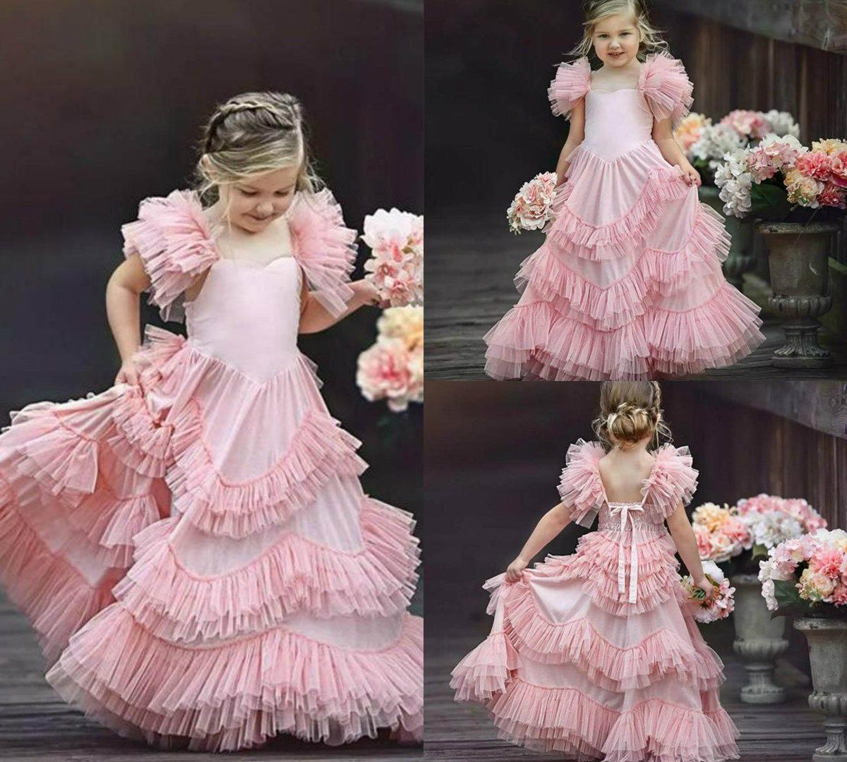 bb5ccaac09 New Blush Pink Flower Girl Dresses For Weddings Ruffle Cute Little Girls  Pageant Dress Spaghetti Strap Tulle First Holy Communion Dresses Color  Flower Girl ...