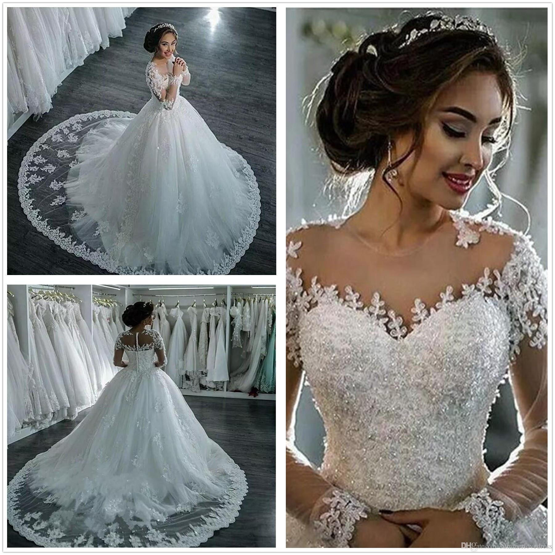 Discount Arabic Modest Long Sleeves Lace Ball Gowns