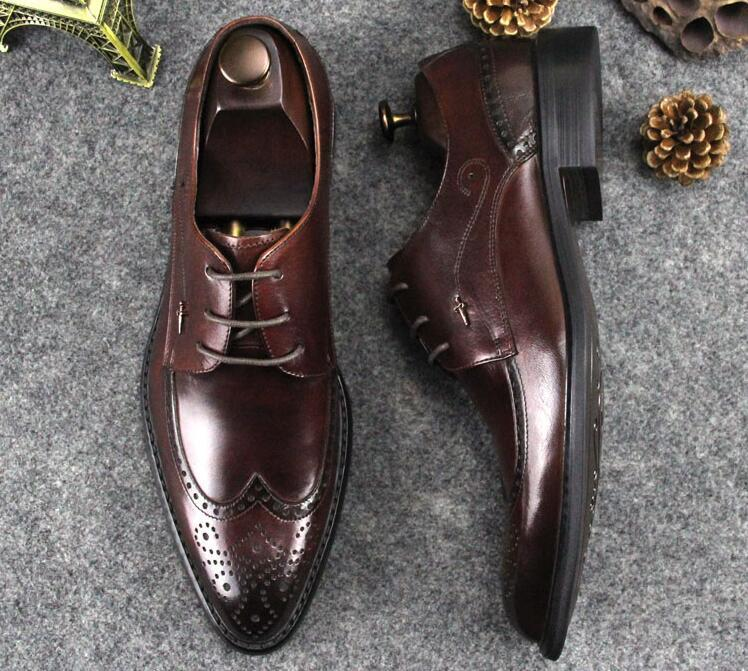 Carved Brogue Shoes Men Genuine Leather Pointed Toes Lace Up Breathable  Wedding Dress Shoes Flats Smart Casual Summer Brogue Dress Shoes For Men  Leather ... d507d6fe194b