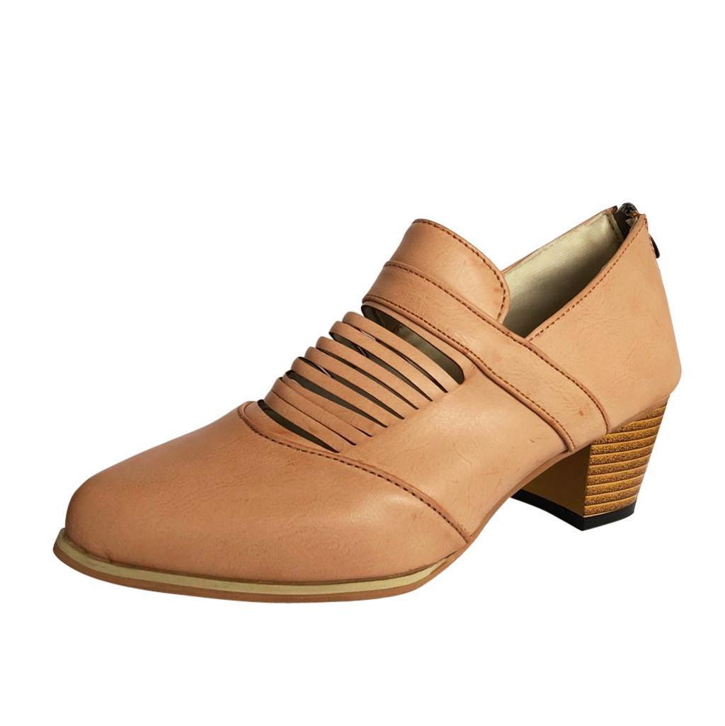 fb792f0380af84 Acheter Chaussures Habillées Mode Femmes Printemps Automne Sauvage En Cuir  Bottes Dames Talon Carré Rayé Évider Cheville Vintage Botte Roman De $30.16  Du ...