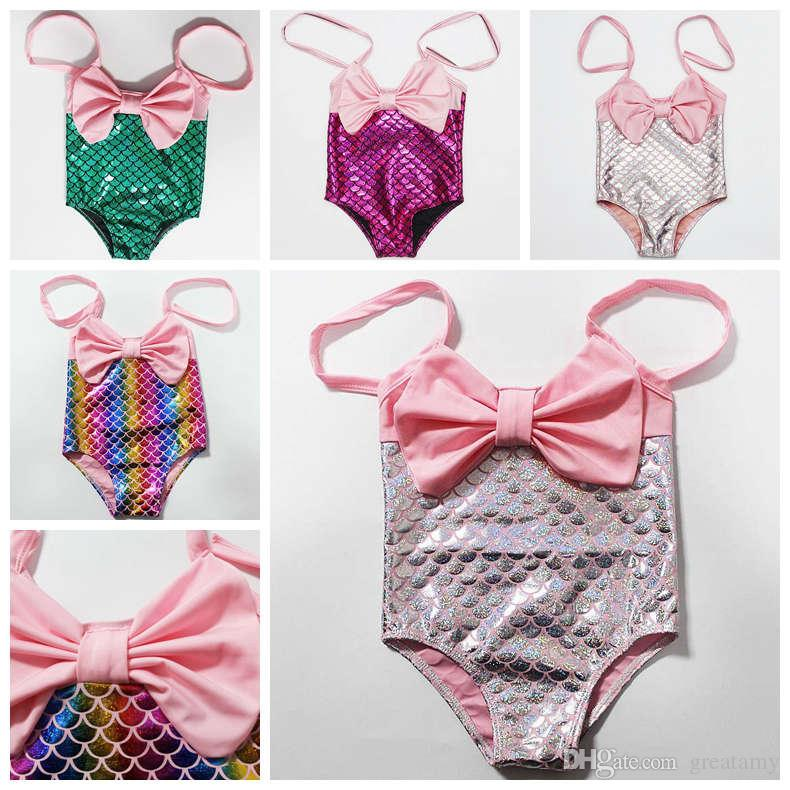 bde531fb446 2019 1 6 Years Cute Princess Kids Baby Girl Mermaid Swimwear Halter Bowknot  Bikini Swimsuit Swimming Swimmable Bathing Suit Beachwear From Greatamy, ...
