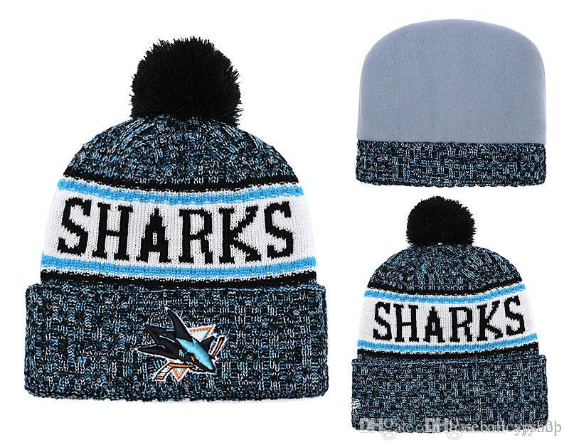 hot sale online 1fb23 e9303 ... usa 2019 new mens san jose sharks knitted cuffed pom beanie hats  striped sideline wool warm