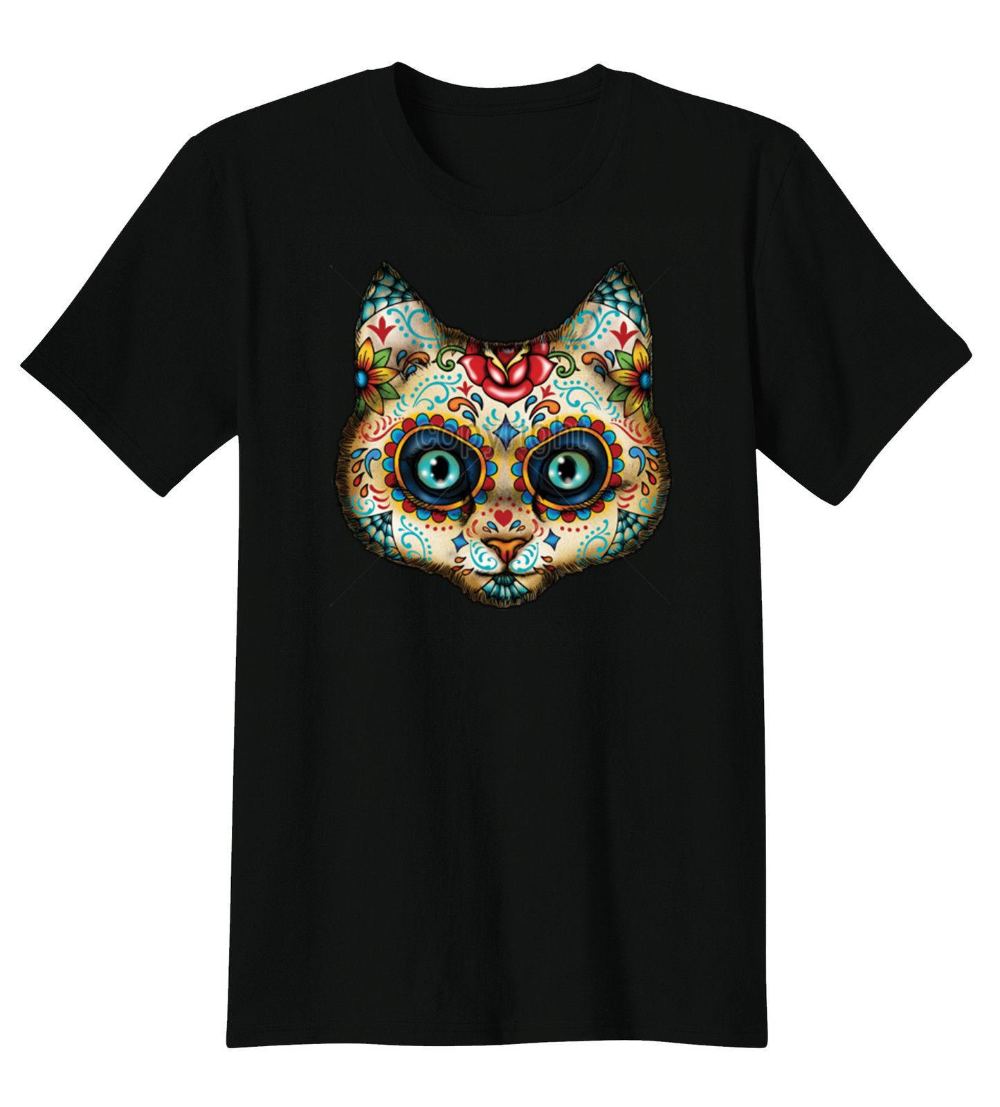 Sugar Skull Face Painted Day Of The Dead Kitty Cat T-Shirt Tee cattt windbreaker Pug tshirt Trump sweat sporter t-shirt