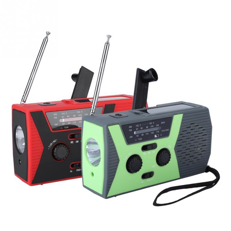 Hand Cranked Solar Powered Radio Portable AM/FM NOAA Weather Radio with LED  Multifunctional Waterproof