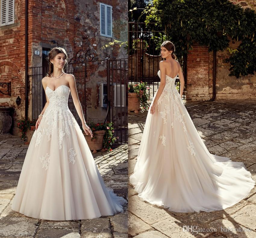 eb4d12c014a Discount Western Country A Line Wedding Dresses Simple Designed A Line  Sweetheart Appliqued Formal Bridal Gowns Cheap Plus Size Wedding Party  Dresses ...