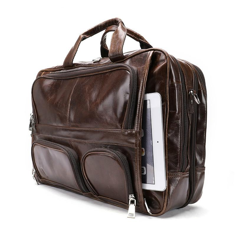 59efc4694f98 Retro Portable Men Genuine Leather Antique Design Business Briefcase Laptop  Messenger Bag Tote Men S Casual Travel Shoulder Bag Online Bags Briefcase  For ...