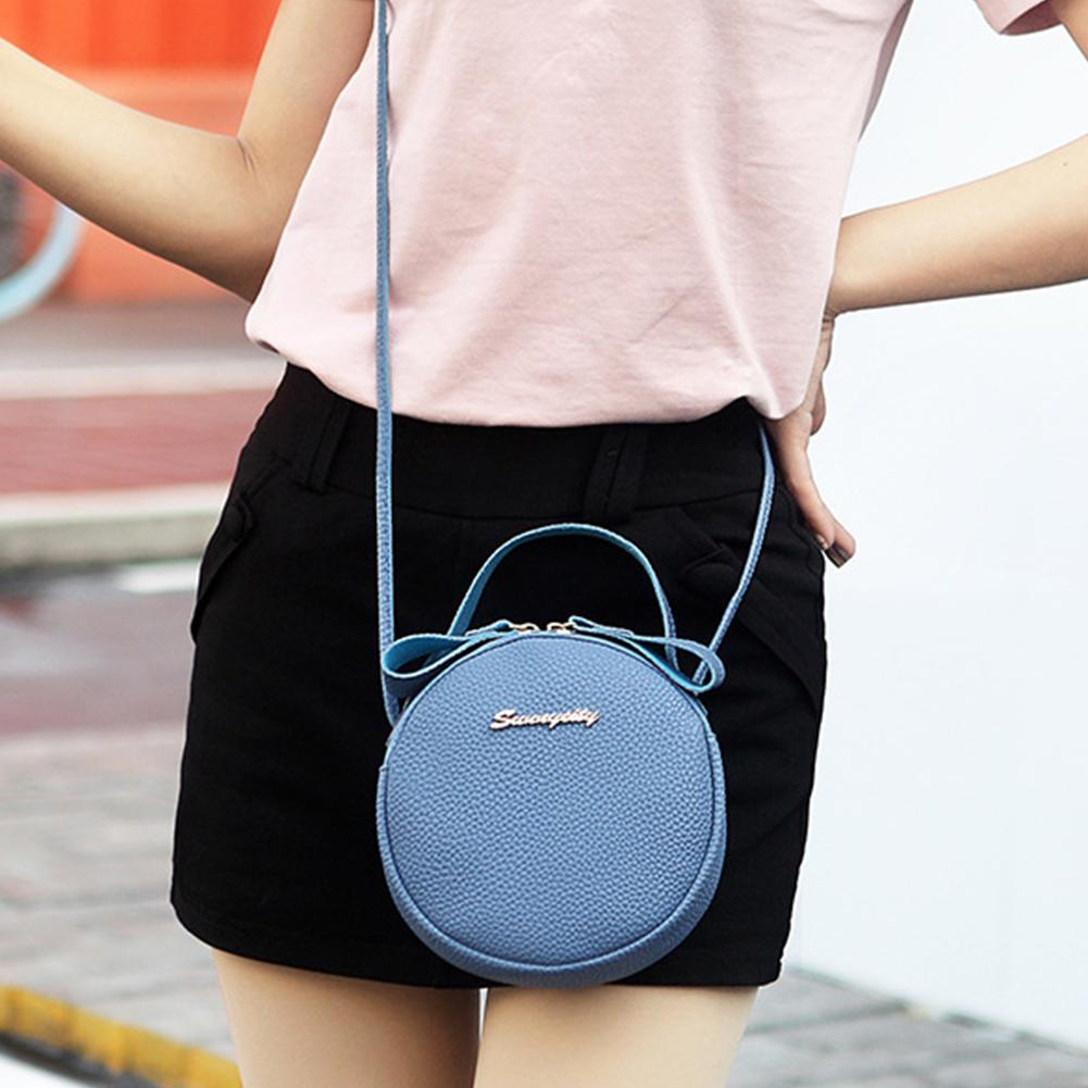 Women Tote Mini Sling Exquisite Cute Shoulder Round Crossbody Handbags Fashion Messenger Bag Casual Leisure Zipper Closure